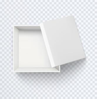 Белая пустая коробка вид сверху. реалистичные наполовину открытые картонные коробки, изолированные на прозрачном фоне.