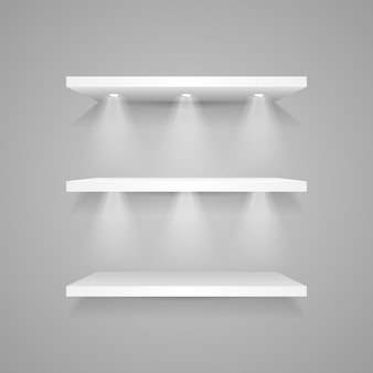 White empty display shelf with spotlights