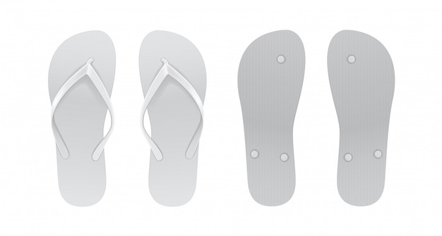 White empty flip flop set. front and back view.
