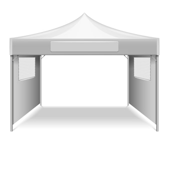 White empty folding tent, marquee vector template. mockup shelter from sun for beach and gearden ill