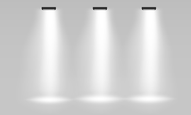 White empty indoor exhibition stand for presentation with spotlight  on the gray background. white empty promotional 3d exhibition booth. scene show podium for presentations. .