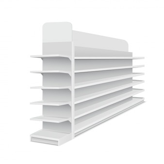 White empty long showcase with shelves for products on white background. rack for supermarkets, shopping centers. vector illustration