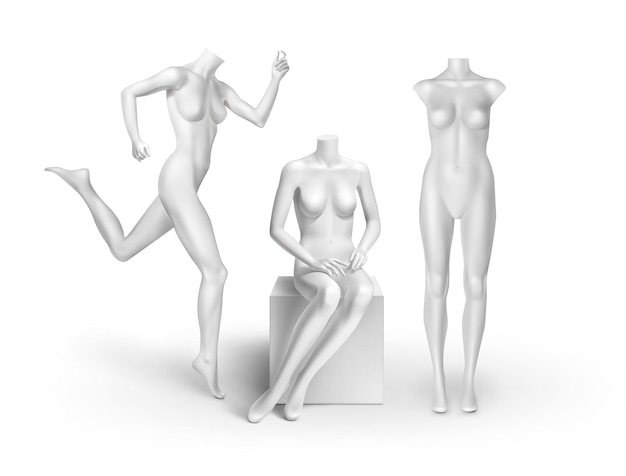 White empty mannequins: standing, running, sitting isolated on white background