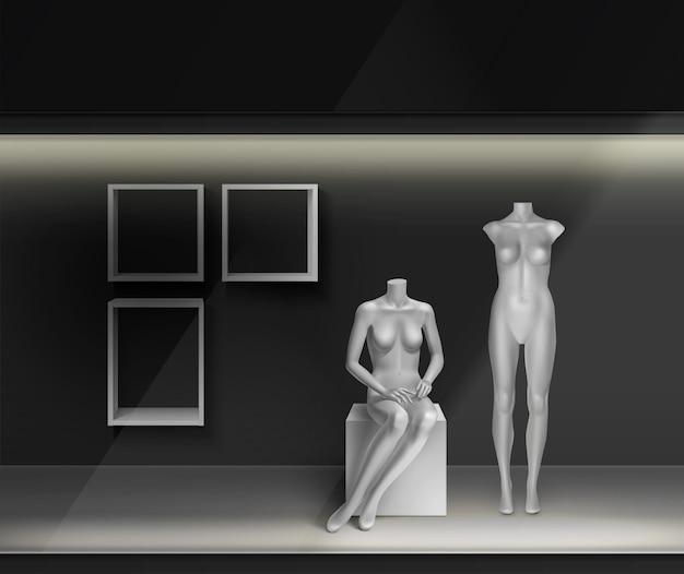 White empty mannequins: standing, running, sitting in shop-window