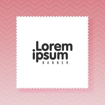 テキスト用のコピースペースがある白い空の紙の長方形。ジグザグピンク色の背景。