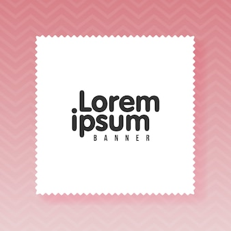 White empty paper rectangle with copy space for text. zig zag pink color background.