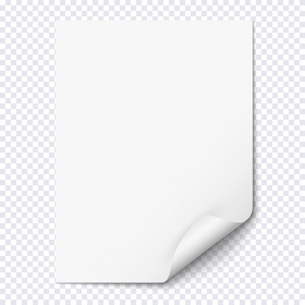 White empty paper sheet with curled corner