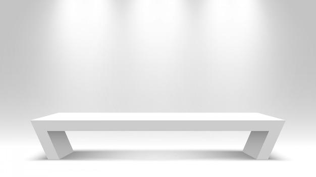 Белый пустой постамент. stand. стол письменный. подиум. иллюстрации.