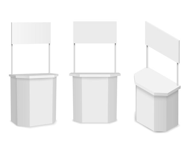 Белый пустой рекламный стенд или рекламный счетчик. коммерческий магазин и розничная торговля, иллюстрация