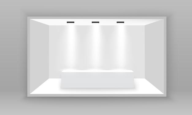 흰색 빈 홍보 3d 전시회 부스. 프레 젠 테이션을위한 현장 쇼 연단. 회색 배경에 스포트 라이트로 프리젠 테이션을위한 흰색 빈 실내 전시 스탠드. 삽화,