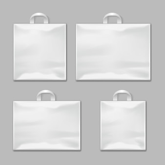 White empty reusable plastic shopping bags with handles vector templates, design mockups. package po