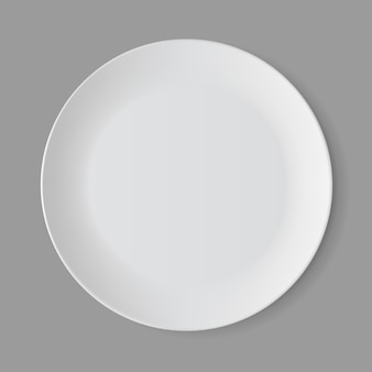 White empty round plate isolated, top view
