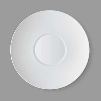 White empty round sauser isolated, top view