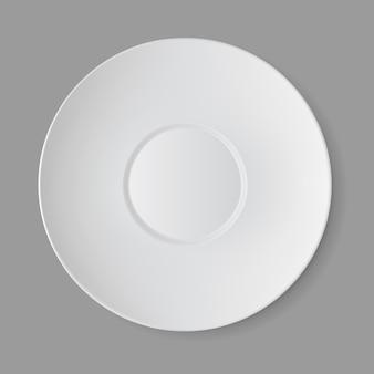 Белый пустой круглый sauser изолированные, вид сверху