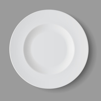 White empty round soup plate isolated, top view