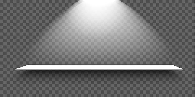 Белая пустая полка со светом и тенью на прозрачном фоне. реалистичный элемент