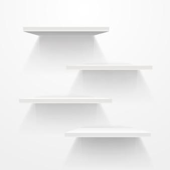 회색 벽에 흰색 빈 선반입니다. 벡터 모형