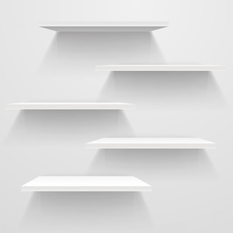 White empty shelves on white wall. vector mockup