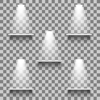 투명한 배경에 빛과 그림자가 있는 흰색 빈 선반. 프리미엄 벡터