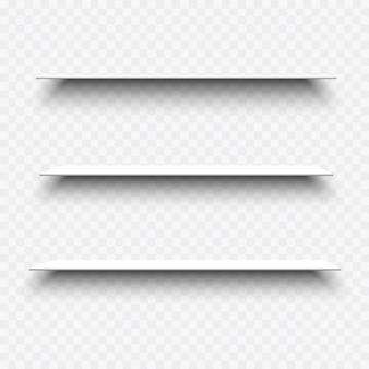 Белые пустые полки с тенями на прозрачном фоне. набор 3d реалистичных элементов