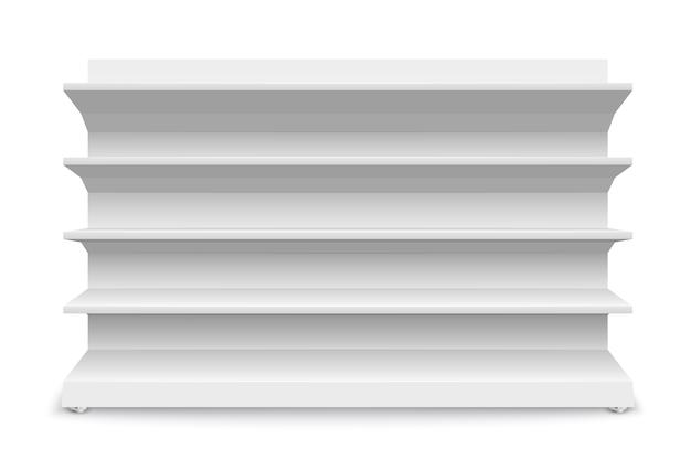 고립 된 흰색 빈 상점 선반