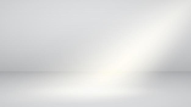 片側の光ビームを持つ白い空のスタジオの背景