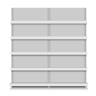 White empty vector store shelves. retail shelf. supermarket stand