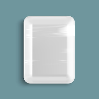 White empty wrapped plastic food tray container