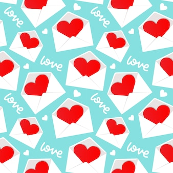 White envelope with valentine heart inside pattern seamless