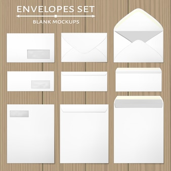 White envelopes set.