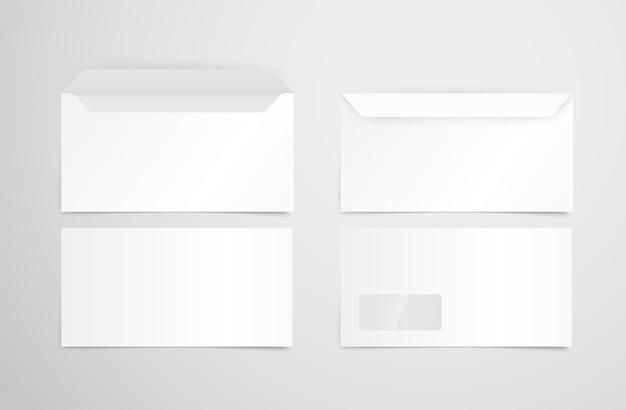 Набор векторных белые конверты. макет идентичности