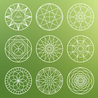 White esoteric geometric pentagrams. spiritual sacred mystical  symbols