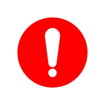 White exclamation mark sign on red circle isolated on white background