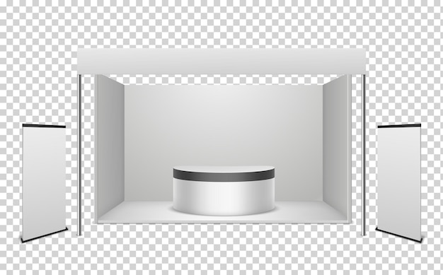 White exhibition booth in realistic style