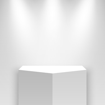 Белый выставочный стенд и прожекторы. пьедестал.