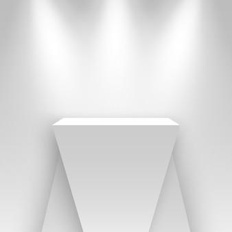スポットライトで照らされた白い展示スタンド空白の表彰台台座