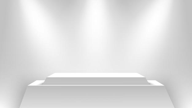 Белый выставочный стенд, освещенный прожекторами. подиум. пьедестал.