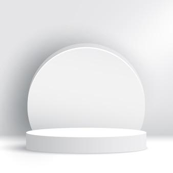 白い展示台。表彰台。授賞式のステージ。ペデスタル。シーン。