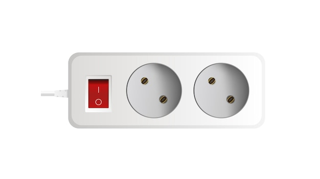 White extension cord with three outlets. portable power socket. realistic style vector.