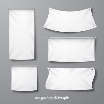 White fabric banner collection
