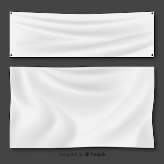 White fabric banner set