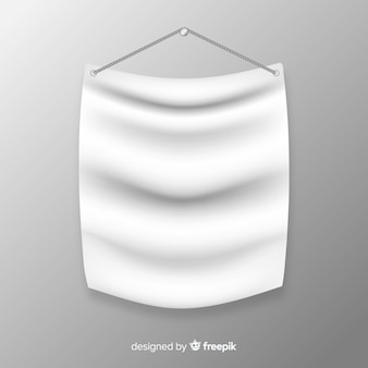 White fabric banner