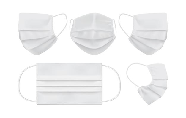 흰색 배경에 고립 된 하얀 얼굴 마스크 프리미엄 벡터