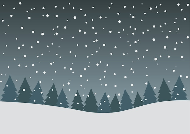 White falling snow and pine forest background