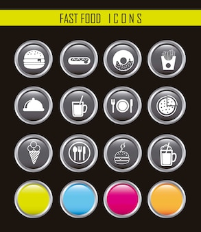 White fast food icons over black background vector