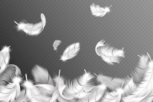 白い羽の背景。飛んでいるふわふわの白鳥、鳩または天使の羽、柔らかい鳥の羽。スタイルチラシコンセプト
