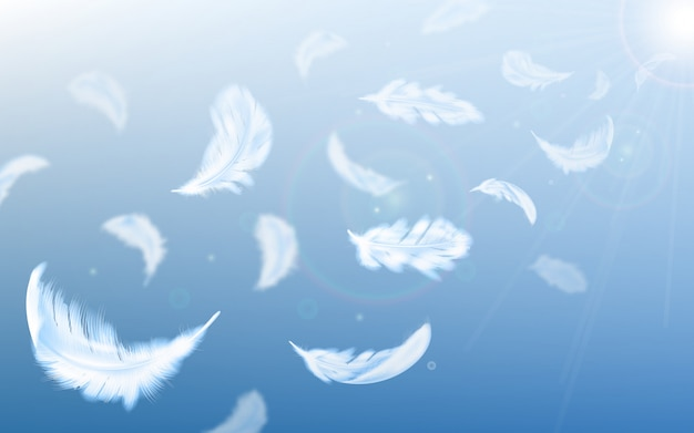 White feathers fly in air on blue sky illustration