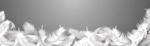 흰 깃털. 푹신한 새 깃털, 떨어지는 부드러움 거위, 암탉 또는 백조가 깃털을 닫는 현실적인 곡선 프레임, 배너 포스터 또는 전단지 벡터 격리 그림에 대한 부드러운 테두리 스타일