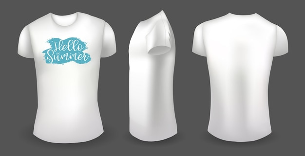 White female t shirt with label front back and side view hello summer badge vector