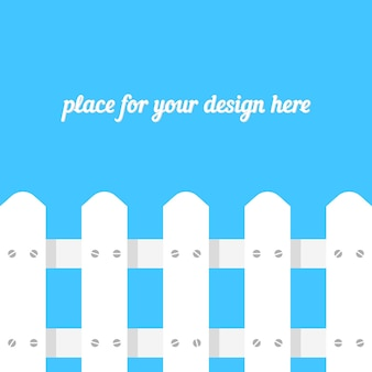 White fence on blue background. concept of boundary structure, simple paling, defense, pasture, footer site, design greeting card, timber panel. flat style trend modern design vector illustration